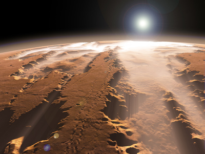 Artist's Concept of the Valles Marineris Canyons on Mars Stretched Canvas Print