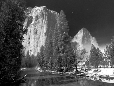 A Long Exposure and a Full Moon Light Up the Yosemite Valley Stretched Canvas Print