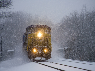 A Train Pushes Through Thick Falling Snow During 'Blizzard of 2010' Stretched Canvas Print