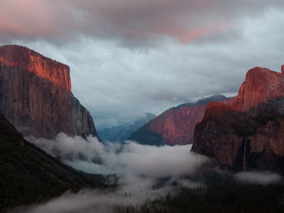 Fog Settles over Yosemite Valley Stretched Canvas Print