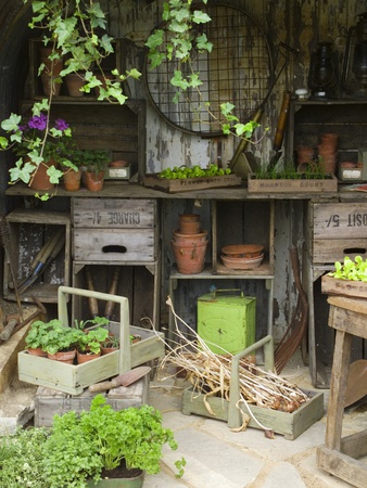 Potting Shed in Garden at Hampton Court Flower Show Stretched Canvas Print
