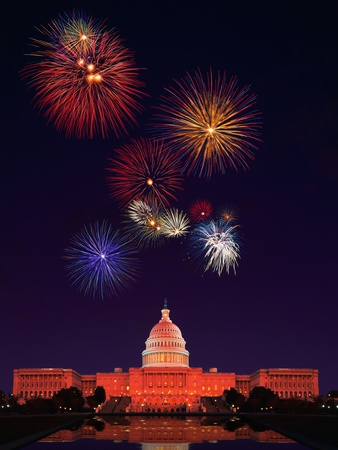 United States Capitol Building and Fireworks Stretched Canvas Print