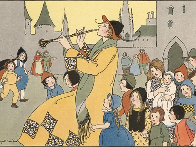 All the Little Boys and Girls in Hamelin Followed the Pied Piper Stretched Canvas Print