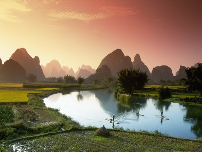 Fishing on the Li River Stretched Canvas Print