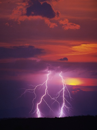 Lightning Storm at Sunset Stretched Canvas Print