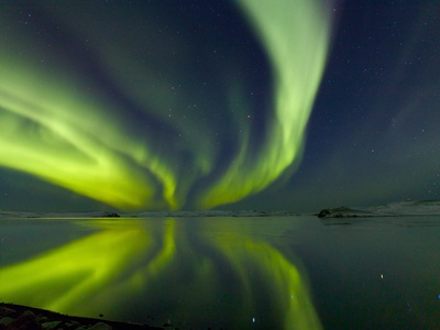 Aurora Borealis over Lake Thorisvatn Stretched Canvas Print