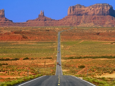 Highway Leading to Monument Valley Stretched Canvas Print