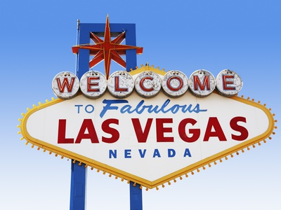 Las Vegas Welcome Road Sign Stretched Canvas Print