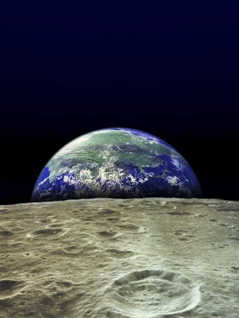 Earth Rising Over Moon Stretched Canvas Print