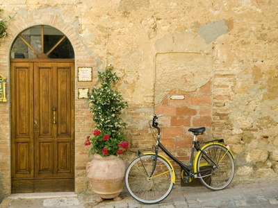 Bicycle Next to Flowers and Door Stretched Canvas Print