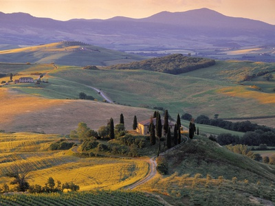 Val d'Orcia Stretched Canvas Print