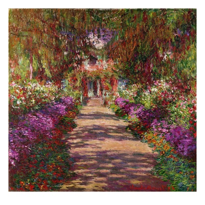 Path in Monet's Garden Giverny impressionism artwork by Claude Monet
