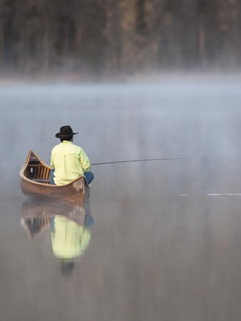 Man fishing Stretched Canvas Print