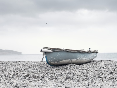 Boat at Beach in Devon Stretched Canvas Print