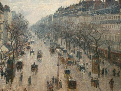 The Boulevard Montmartre on a Winter Morning Stretched Canvas Print