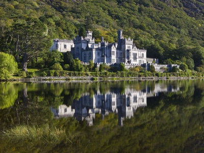 Kylemore Abbey reflected in lake Stretched Canvas Print