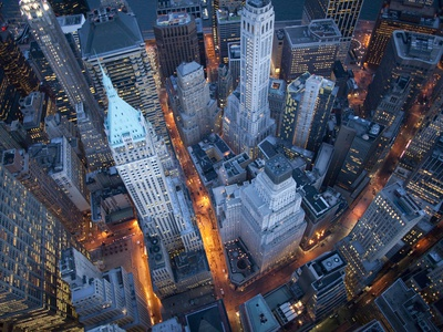 Aerial View of Wall Street Stretched Canvas Print