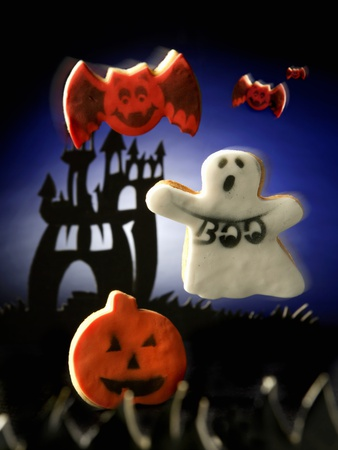 Halloween biscuits (pumpkin, ghost and bats) Stretched Canvas Print