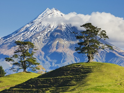 Lush hills in front of Mount Egmont Stretched Canvas Print