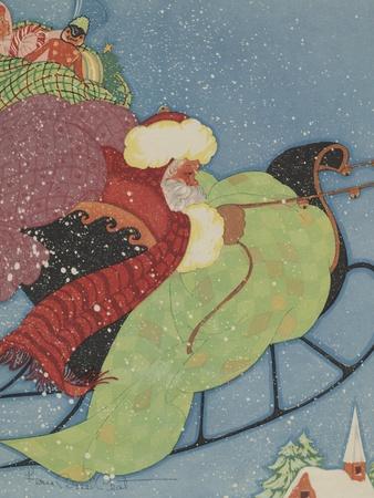 Santa Claus driving sleigh Stretched Canvas Print