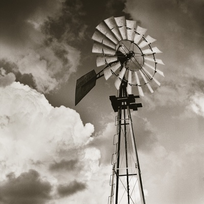 Windmill and Clouds by Tom Marks Stretched Canvas Print