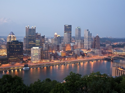 Pittsburgh Skyline Along the Monongahela River Stretched Canvas Print