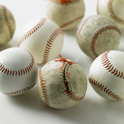 Old and new baseballs gathered together Stretched Canvas Print