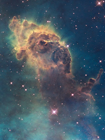 Star Birth in Carina Nebula from Hubble's Wfc3 Detector Stretched Canvas Print
