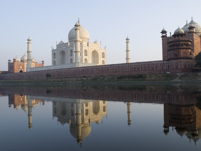 Reflection of a mausoleum in water, Taj Mahal, Agra, Uttar Pradesh, India Stretched Canvas Print