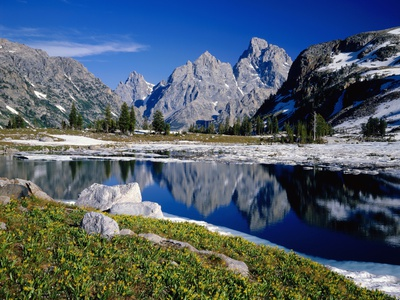 Grand Teton Behind Lake Solitude Stretched Canvas Print
