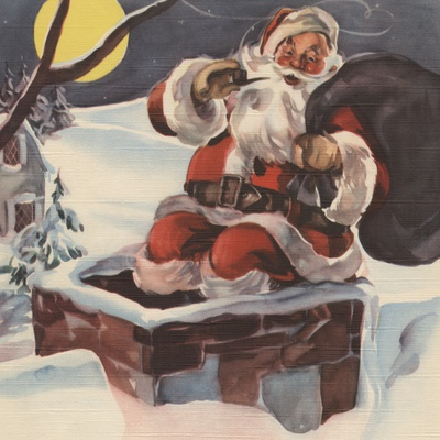 Santa Claus going down chimney with sack of toys Stretched Canvas Print