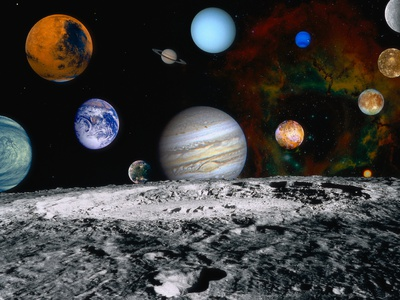 Planets of the Solar System Stretched Canvas Print