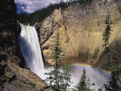 Rainbow at Lower Yellowstone Falls Stretched Canvas Print