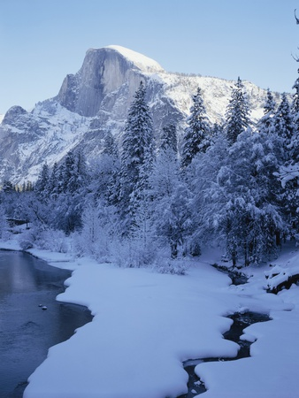 Merced River and Half Dome in Winter Stretched Canvas Print