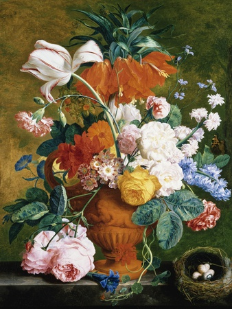A Vase of Rich Summer Flowers Stretched Canvas Print