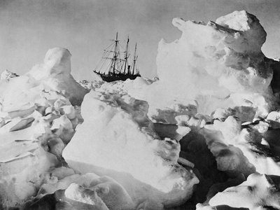 Ernest Shackleton's Ship Endurance Trapped in Ice Stretched Canvas Print