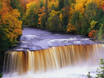 Tahquamenon Falls in Autumn Stretched Canvas Print