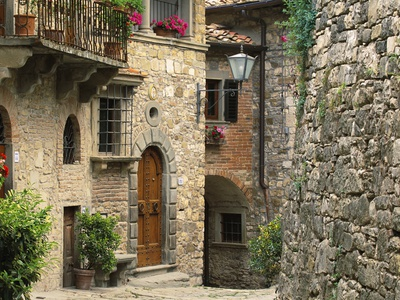 Tuscan Stone Houses Stretched Canvas Print