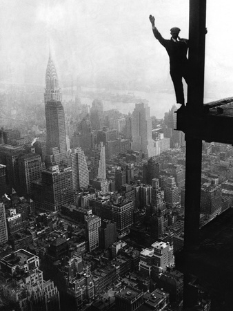 Man Waving from Empire State Building Construction Site Stretched Canvas Print
