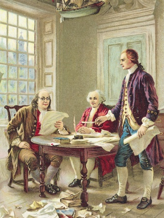 """The Drafting of the Declaration of Independence"" Trade Card After Painting by Jean Leon Germome Fe Stretched Canvas Print"