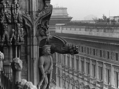 Sculpture Detail on Exterior of Il Duomo Stretched Canvas Print