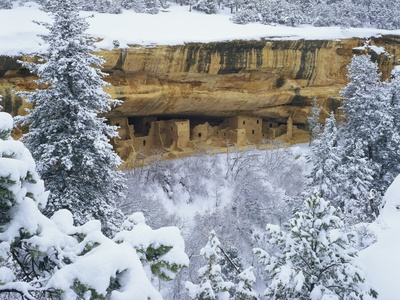 Snow Blankets Spruce Tree House Anasazi Cliff Dwelling at Mesa Verde National Park Stretched Canvas Print