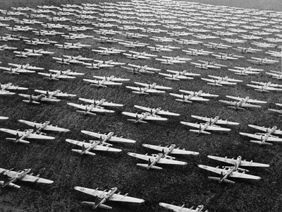 Hundreds of B-29 Flying Fortresses Await Scrap Heap Stretched Canvas Print
