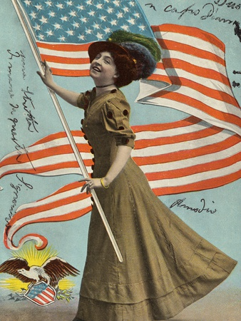 Postcard of Woman Waving American Flag Stretched Canvas Print