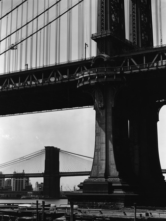 Brooklyn and Manhattan Bridges Stretched Canvas Print