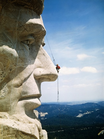 Mount Rushmore Repairman Working on Lincoln's Nose Stretched Canvas Print