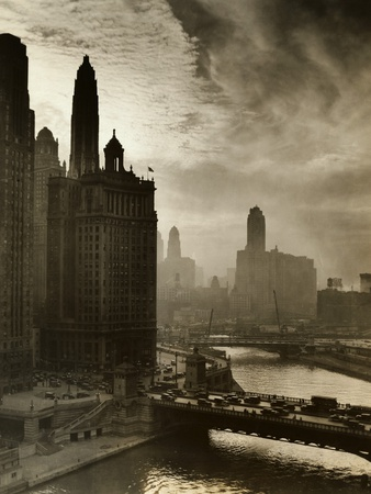 View of Chicago Sky and Skyscrapers Stretched Canvas Print