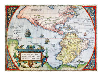New World Map, 1570 Stretched Canvas Print