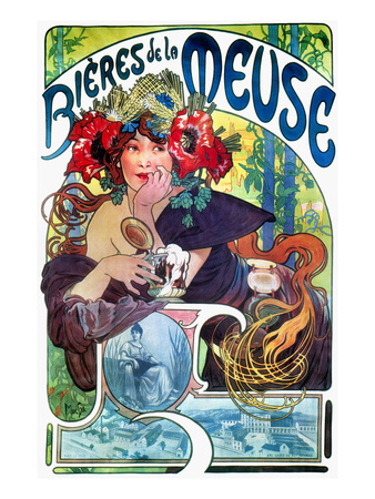 Beer Ad By Mucha, C1897 Stretched Canvas Print