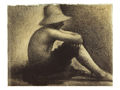 Seurat: Seated Boy, 1883-4 Stretched Canvas Print